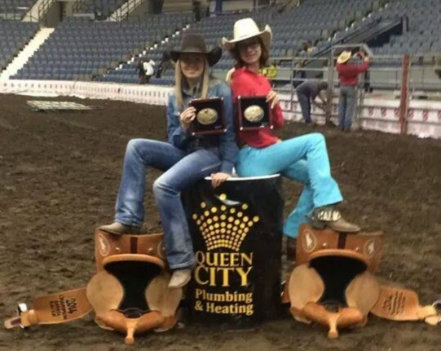 Colby with her sister Hallie Anderson.   Hallie won the Jr. Barrel racing year end and finals aboard the 12 year old mare High Brow Kate