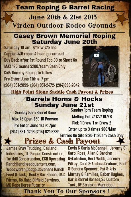 Casey Brown Memorial Team Roping & Barrel Racing @ Virden, MB
