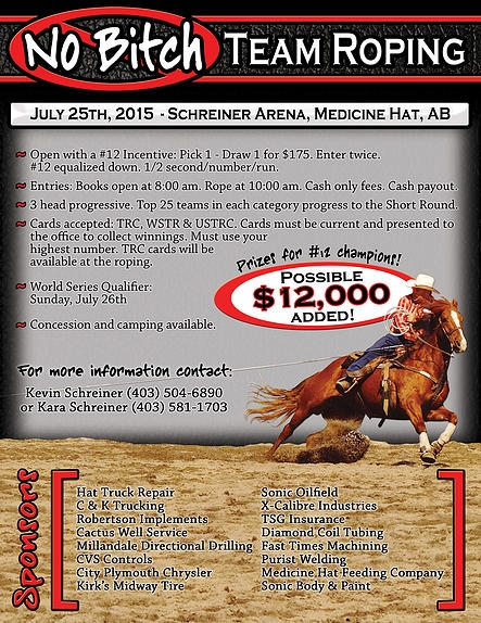 No Bitch Team Roping @ Schreiner Arena   Medicine Hat   Alberta   Canada