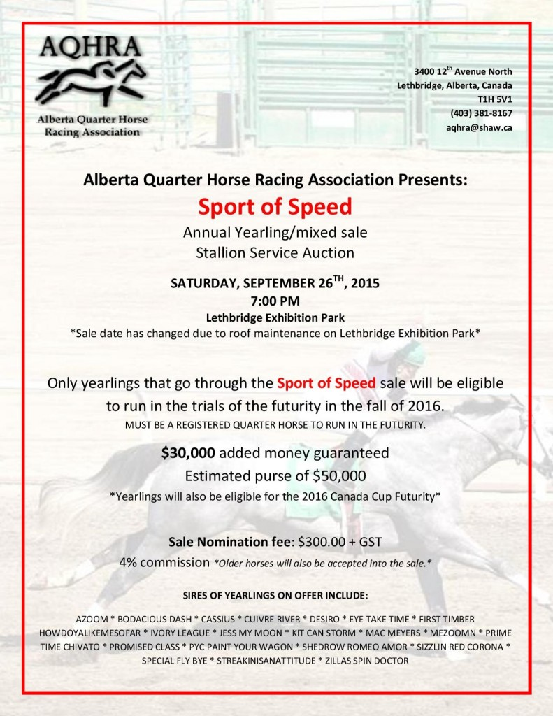 Alberta Quarter Horse Racing Association Sale @ Lethbridge Exhibition Park | Lethbridge | Alberta | Canada